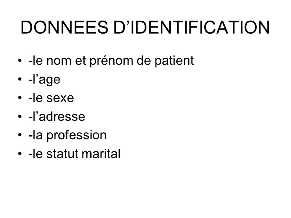 DONNEES D'IDENTIFICATION
