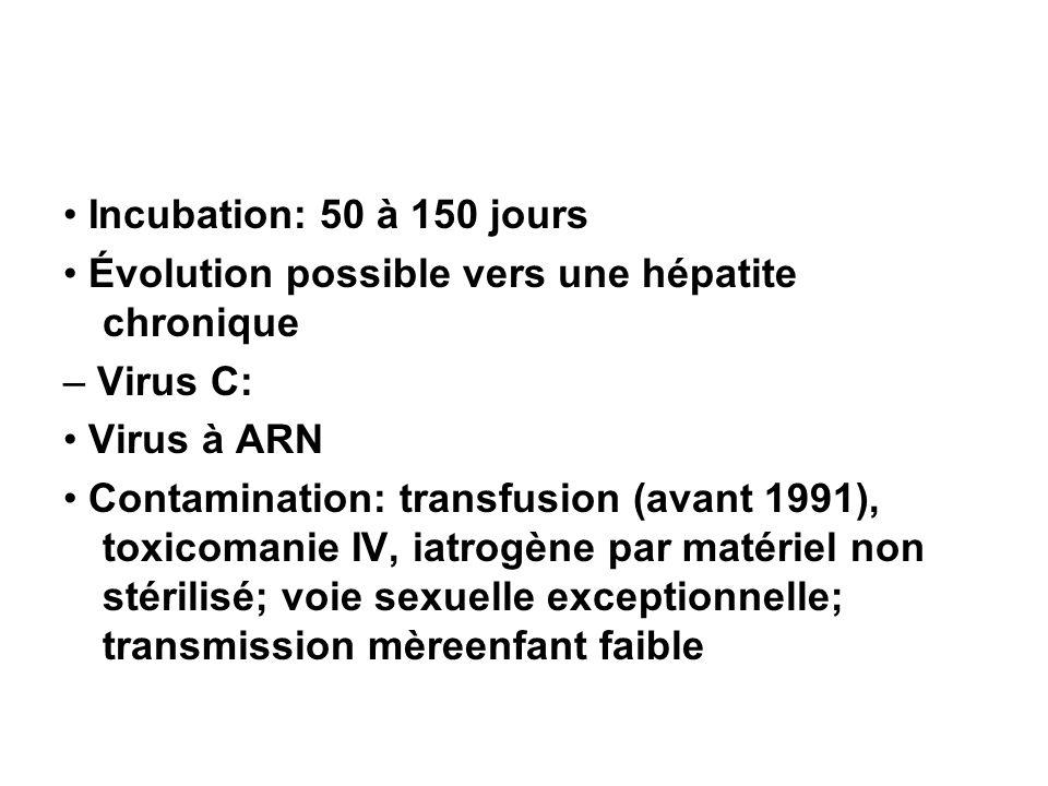 • Incubation: 50 à 150 jours • Évolution possible vers une hépatite chronique. – Virus C: • Virus à ARN.