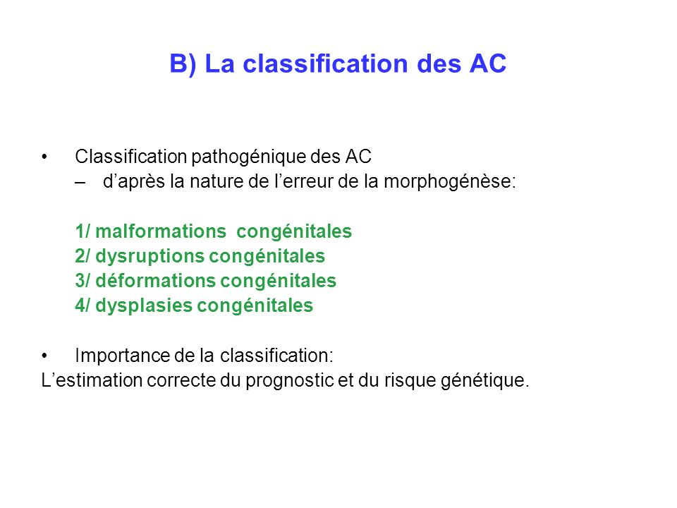B) La classification des AC