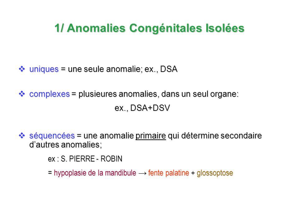 1/ Anomalies Congénitales Isolées