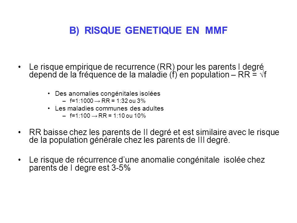 B) RISQUE GENETIQUE EN MMF
