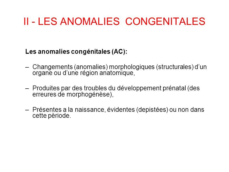 II - LES ANOMALIES CONGENITALES