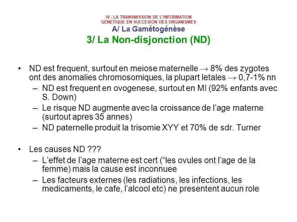 ND est frequent en ovogenese, surtout en MI (92% enfants avec S. Down)
