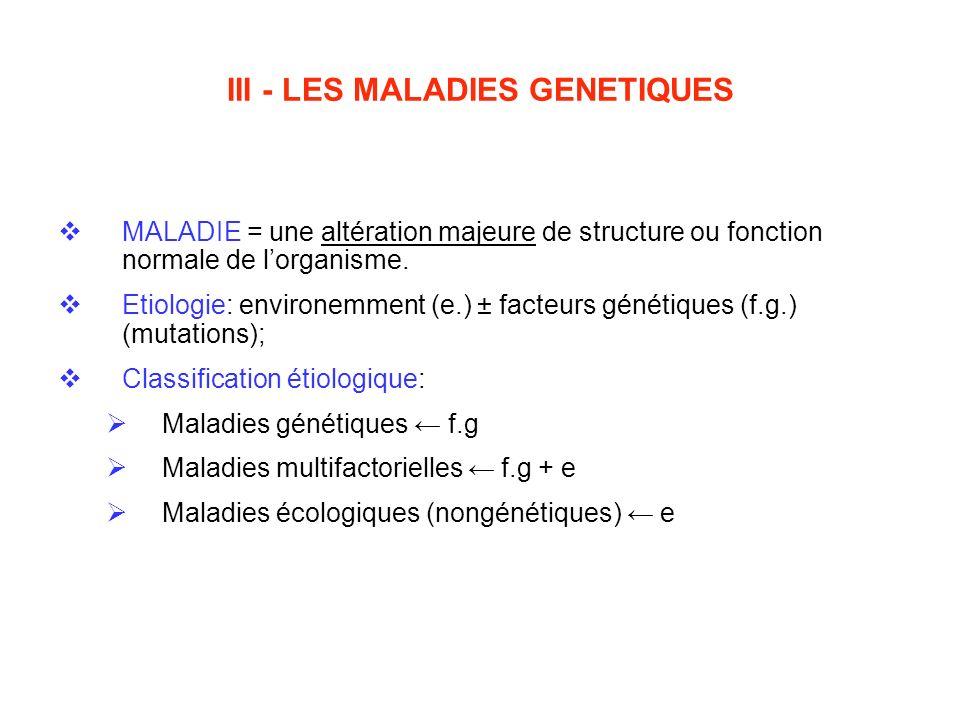 III - LES MALADIES GENETIQUES