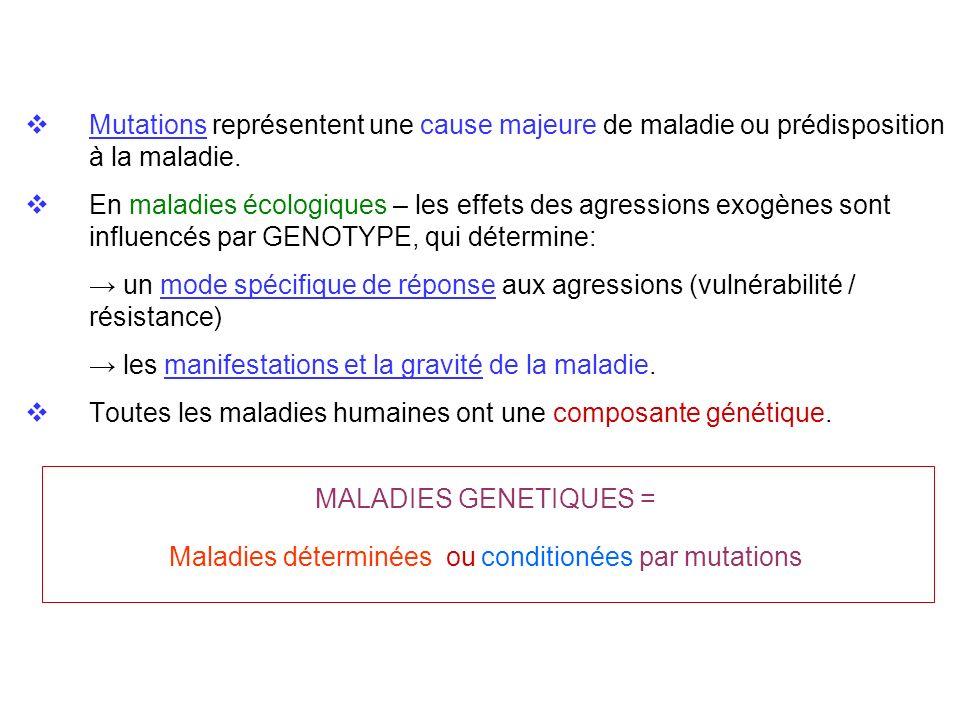 Maladies déterminées ou conditionées par mutations