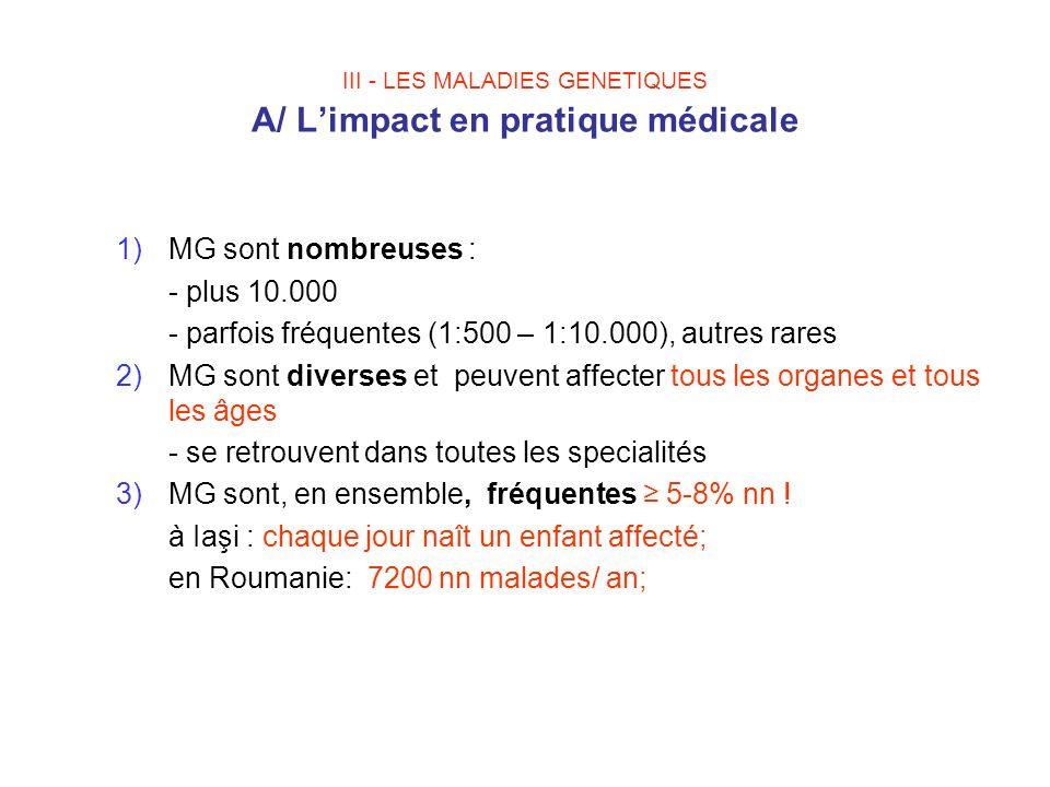 III - LES MALADIES GENETIQUES A/ L'impact en pratique médicale