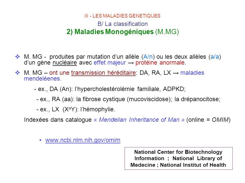 - ex., DA (An): l'hypercholestérolémie familiale, ADPKD;