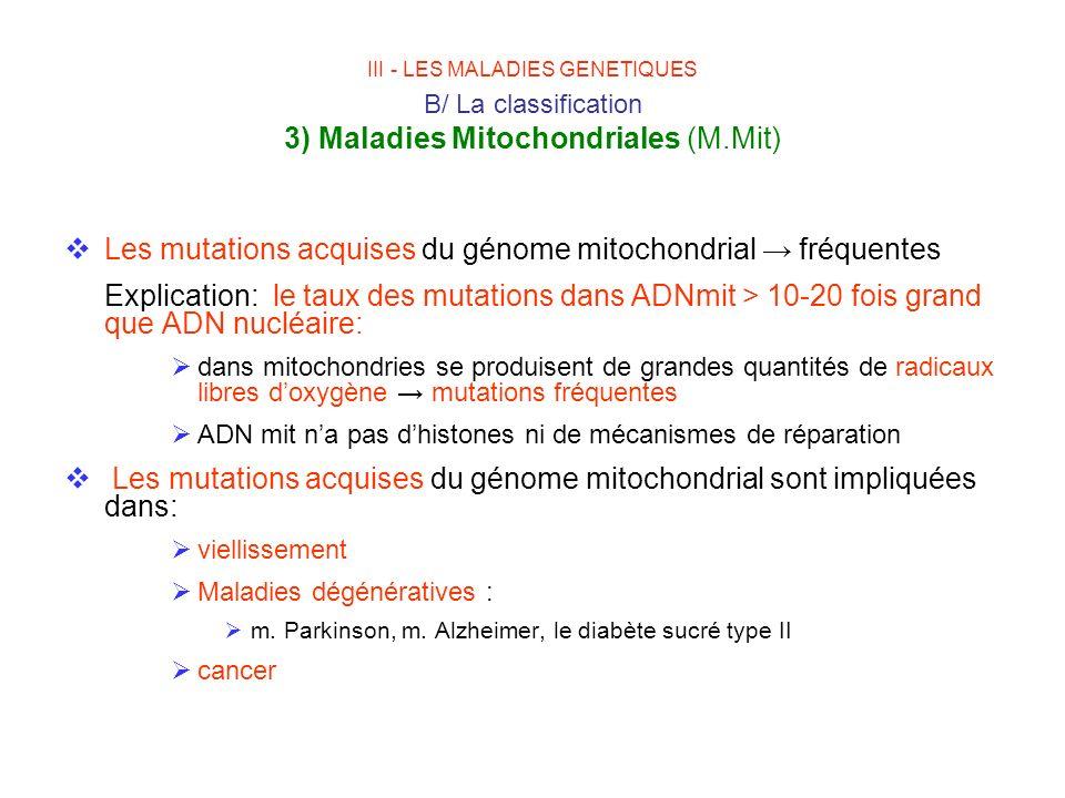 Les mutations acquises du génome mitochondrial → fréquentes