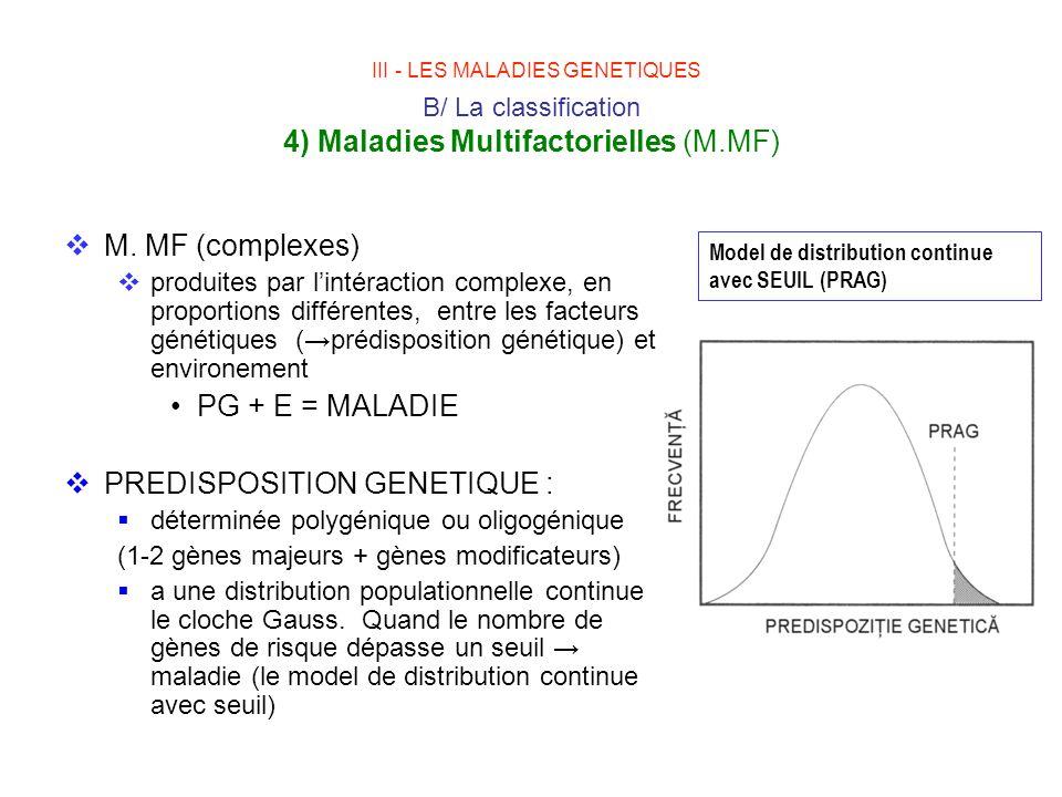 III - LES MALADIES GENETIQUES B/ La classification 4) Maladies Multifactorielles (M.MF)