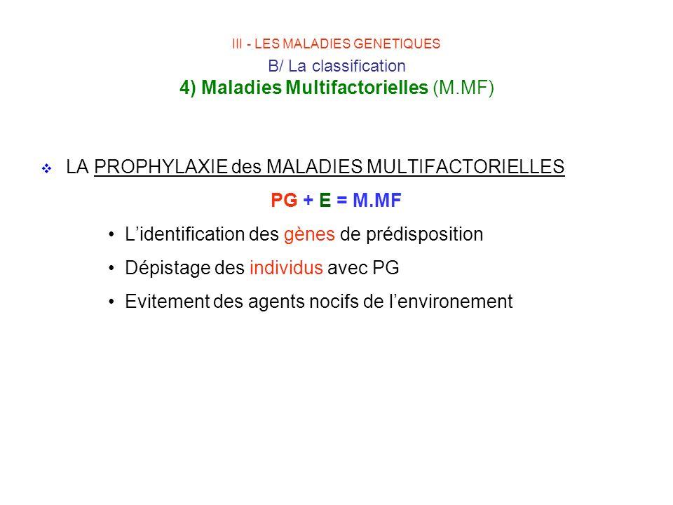 LA PROPHYLAXIE des MALADIES MULTIFACTORIELLES PG + E = M.MF