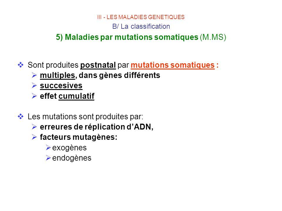 Sont produites postnatal par mutations somatiques :