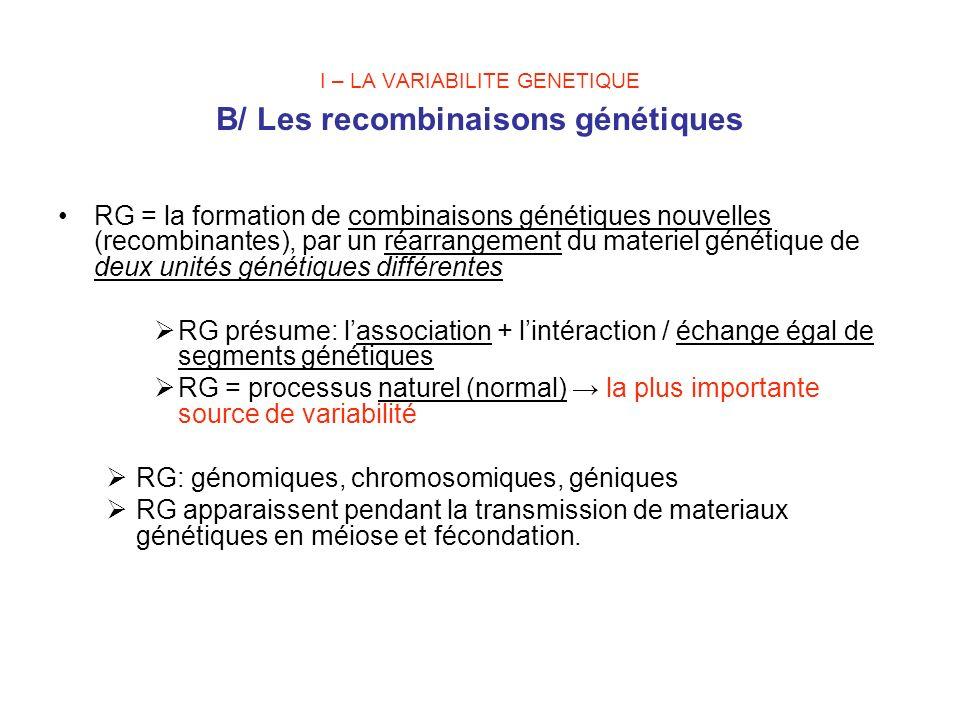 I – LA VARIABILITE GENETIQUE B/ Les recombinaisons génétiques