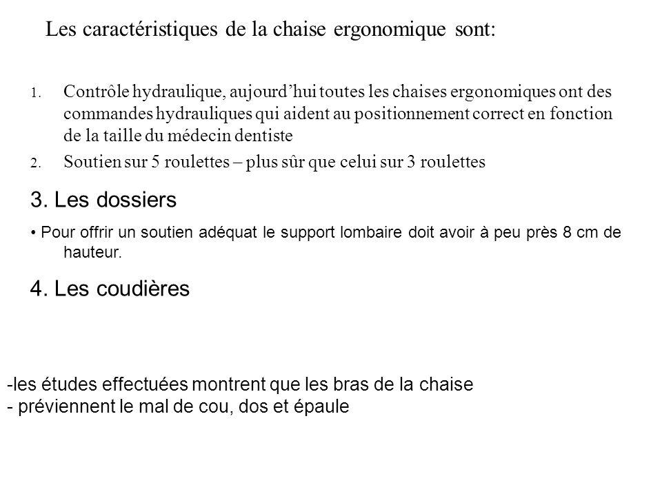 Les caractéristiques de la chaise ergonomique sont: