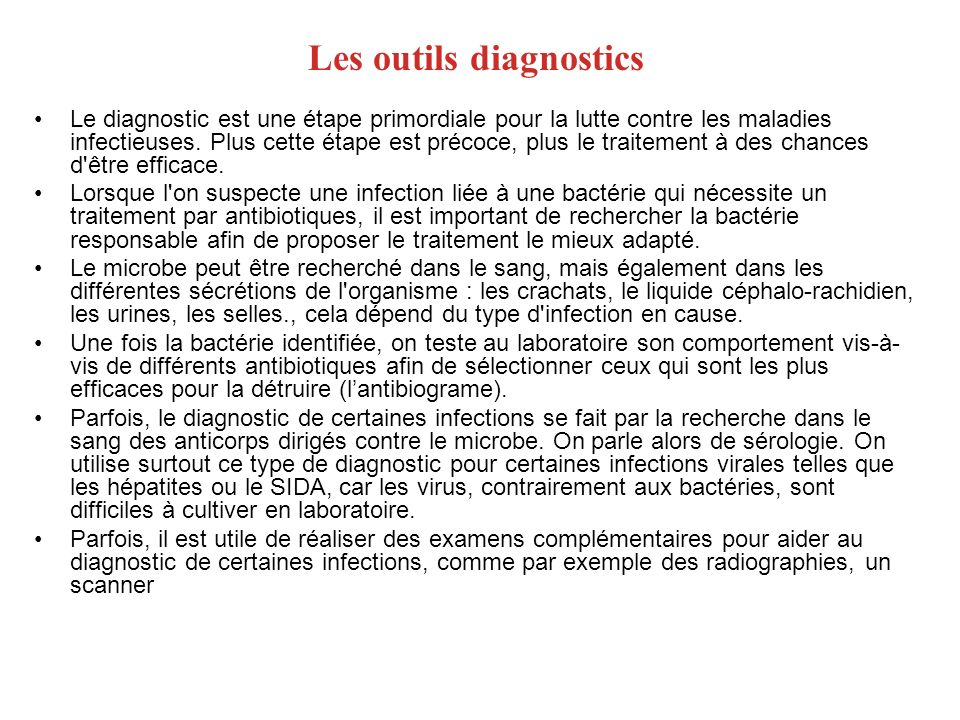 Les outils diagnostics