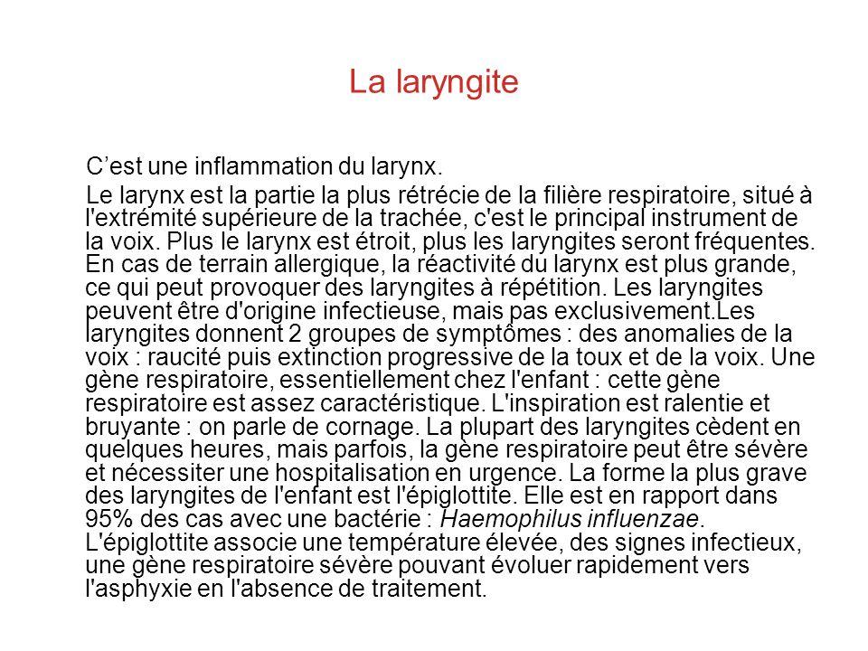 La laryngite C'est une inflammation du larynx.