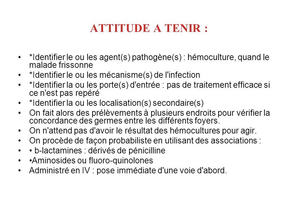 ATTITUDE A TENIR :*Identifier le ou les agent(s) pathogène(s) : hémoculture, quand le malade frissonne.