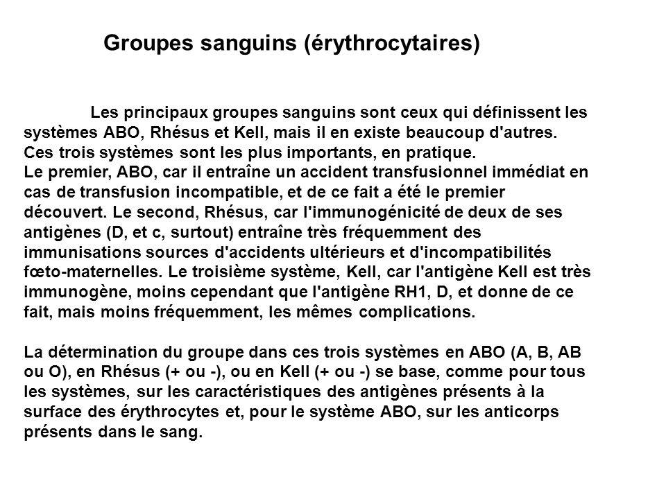 Groupes sanguins (érythrocytaires)