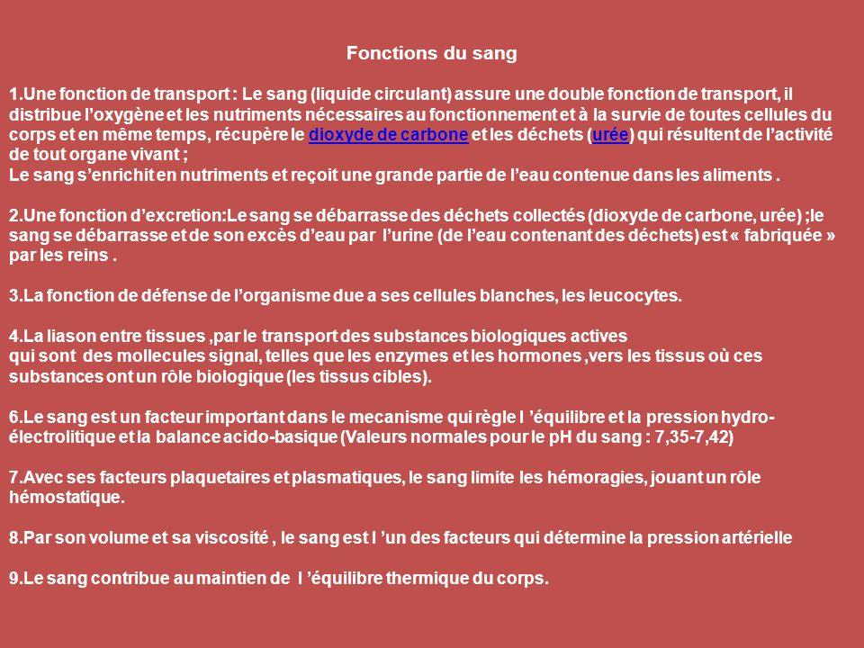 Fonctions du sang