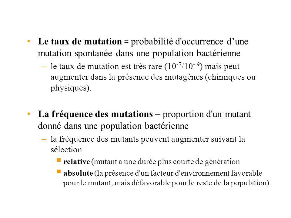 Le taux de mutation = probabilité d occurrence d'une mutation spontanée dans une population bactérienne