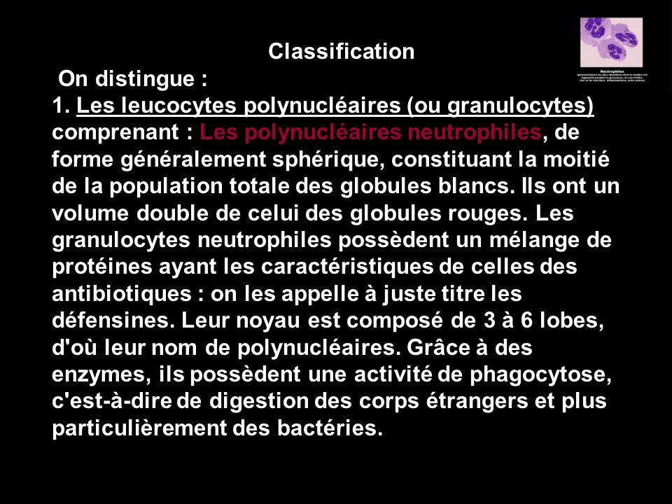 Classification On distingue :