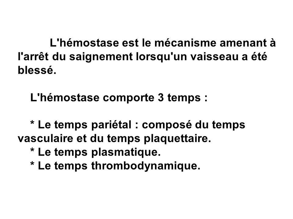 L hémostase comporte 3 temps :