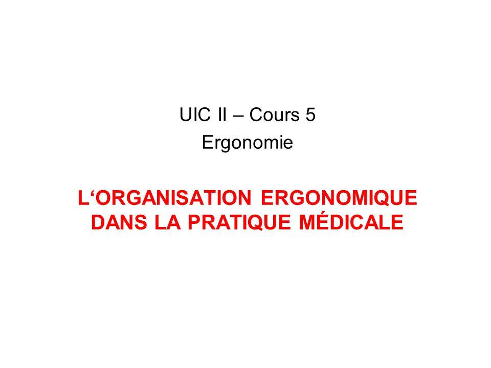 L'ORGANISATION ERGONOMIQUE DANS LA PRATIQUE MÉDICALE