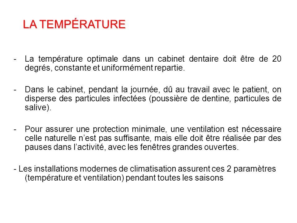 LA TEMPÉRATURE La température optimale dans un cabinet dentaire doit être de 20 degrés, constante et uniformément repartie.