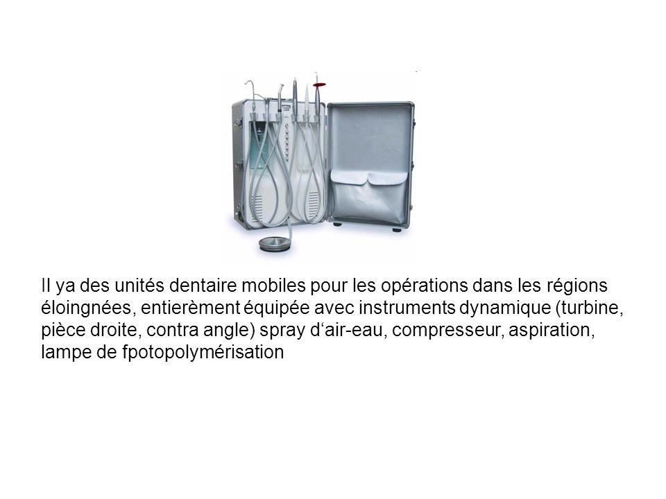 Il ya des unités dentaire mobiles pour les opérations dans les régions éloingnées, entierèment équipée avec instruments dynamique (turbine, pièce droite, contra angle) spray d'air-eau, compresseur, aspiration, lampe de fpotopolymérisation