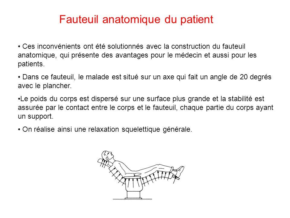 Fauteuil anatomique du patient