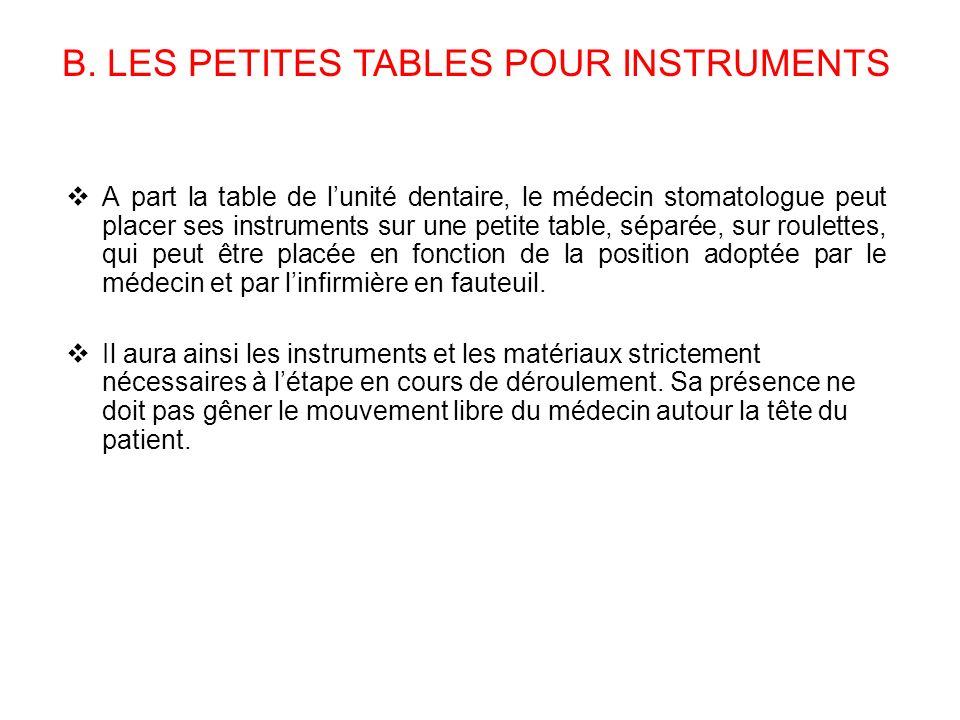 B. LES PETITES TABLES POUR INSTRUMENTS