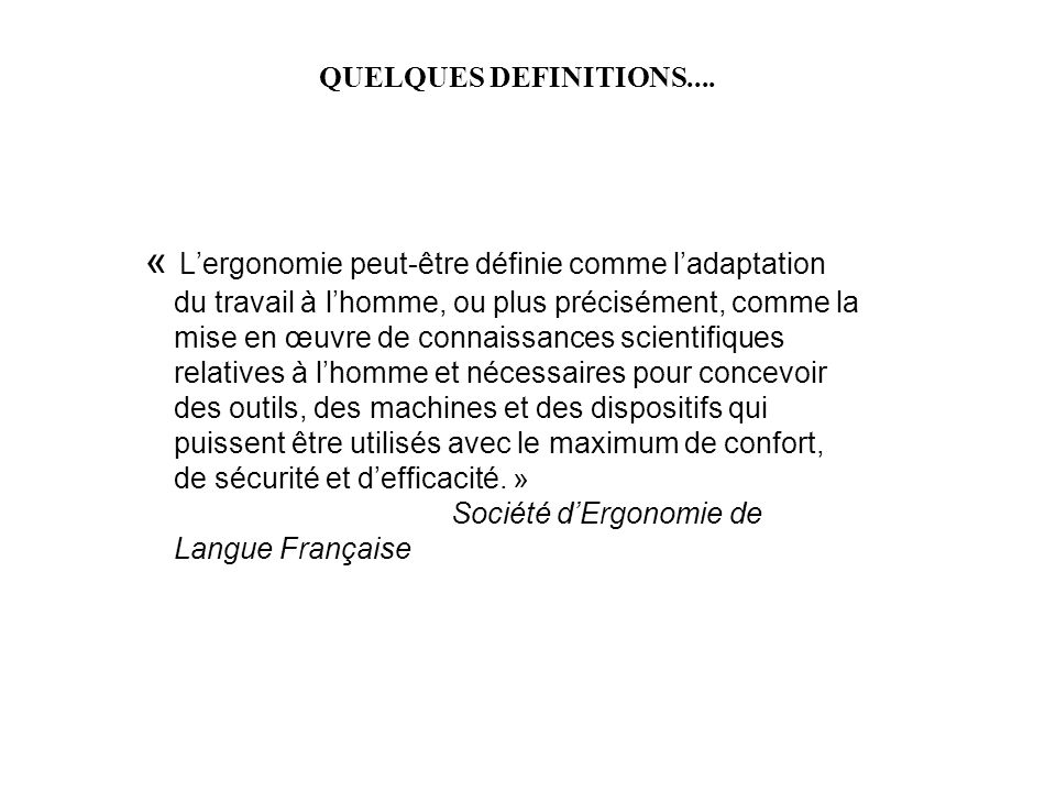 QUELQUES DEFINITIONS....