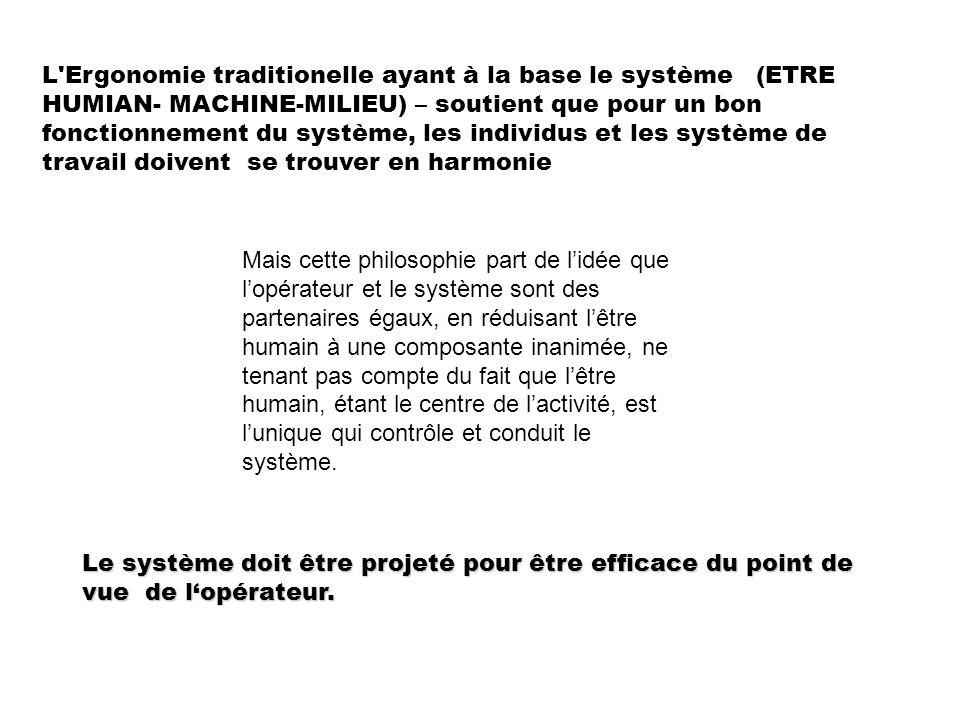 L Ergonomie traditionelle ayant à la base le système (ETRE HUMIAN- MACHINE-MILIEU) – soutient que pour un bon fonctionnement du système, les individus et les système de travail doivent se trouver en harmonie