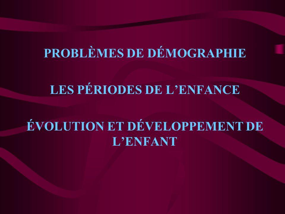 PROBLÈMES DE DÉMOGRAPHIE LES PÉRIODES DE L'ENFANCE