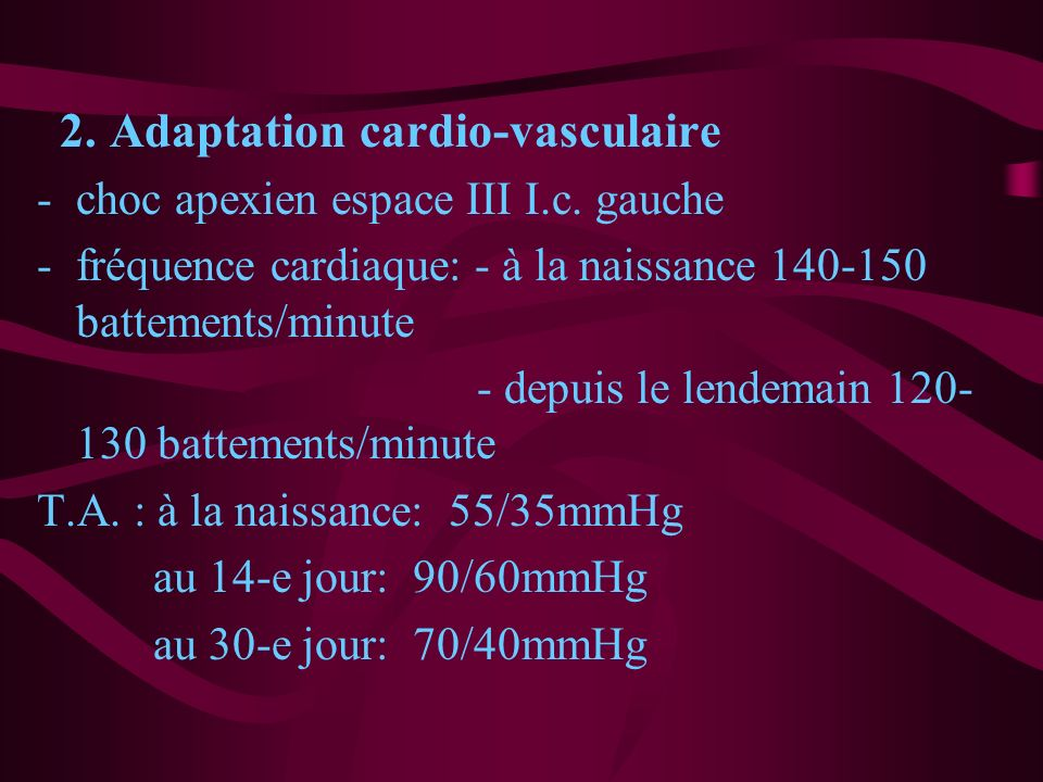2. Adaptation cardio-vasculaire