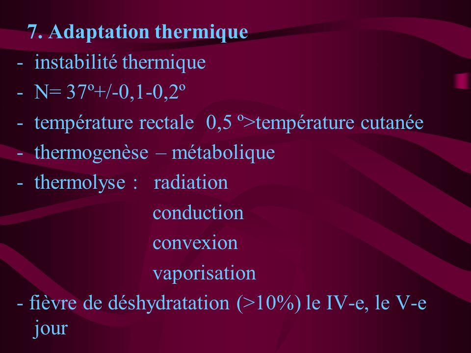 7. Adaptation thermique instabilité thermique. N= 37º+/-0,1-0,2º. température rectale 0,5 º>température cutanée.