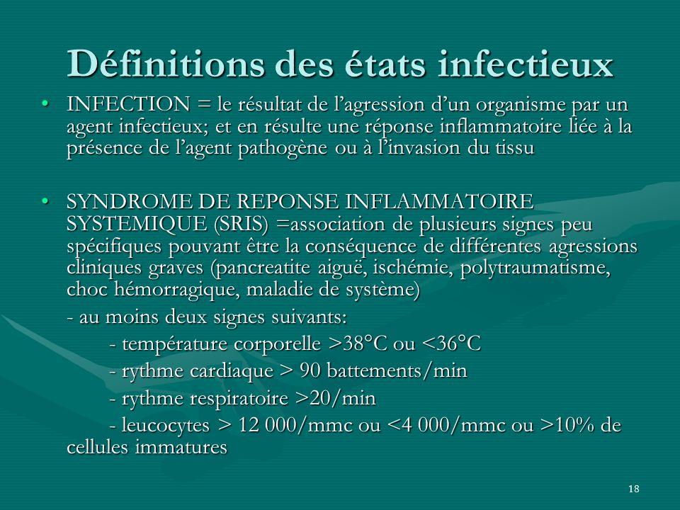 Définitions des états infectieux