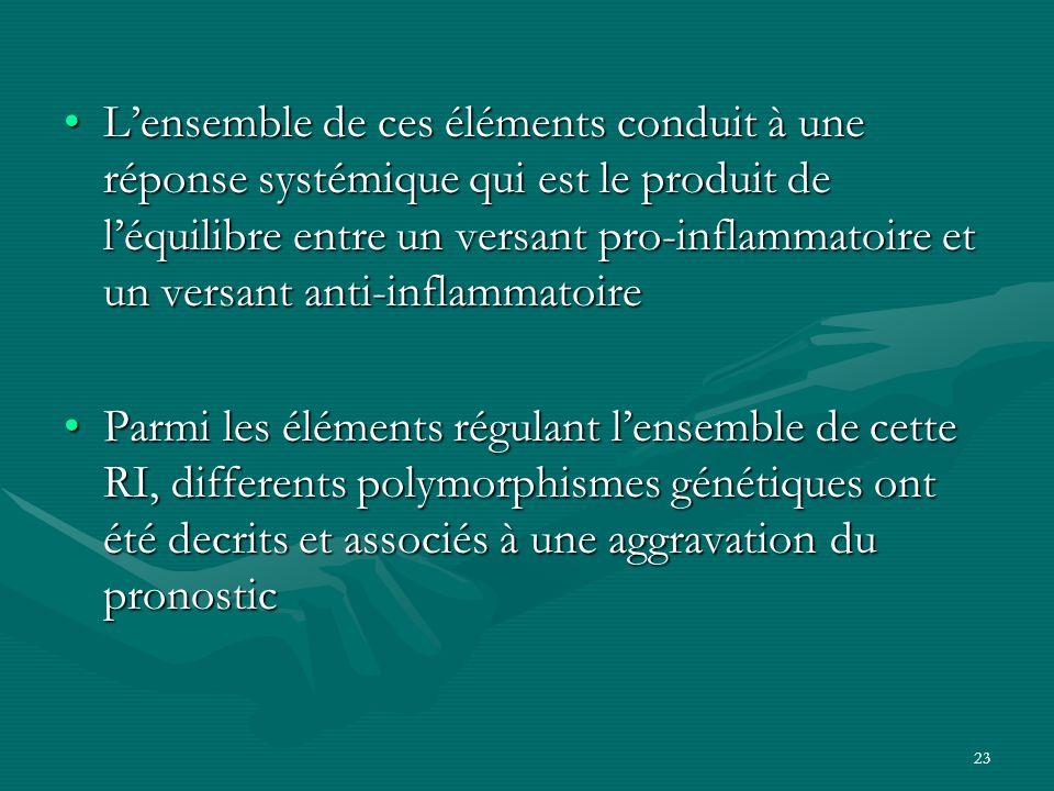 L'ensemble de ces éléments conduit à une réponse systémique qui est le produit de l'équilibre entre un versant pro-inflammatoire et un versant anti-inflammatoire