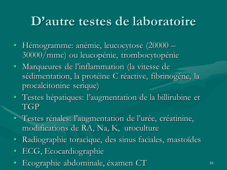 D'autre testes de laboratoire