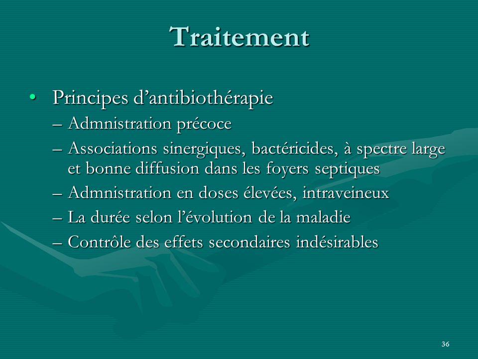 Traitement Principes d'antibiothérapie Admnistration précoce