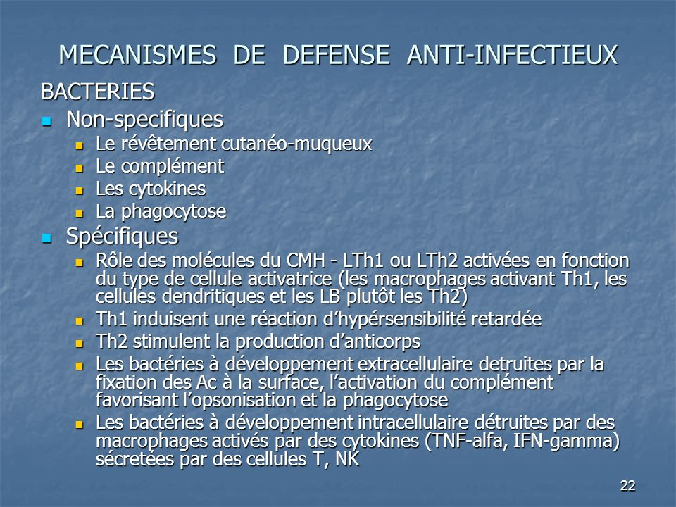 MECANISMES DE DEFENSE ANTI-INFECTIEUX