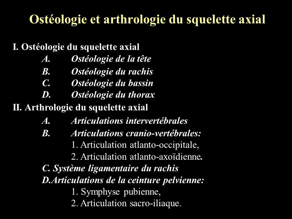 Ostéologie et arthrologie du squelette axial