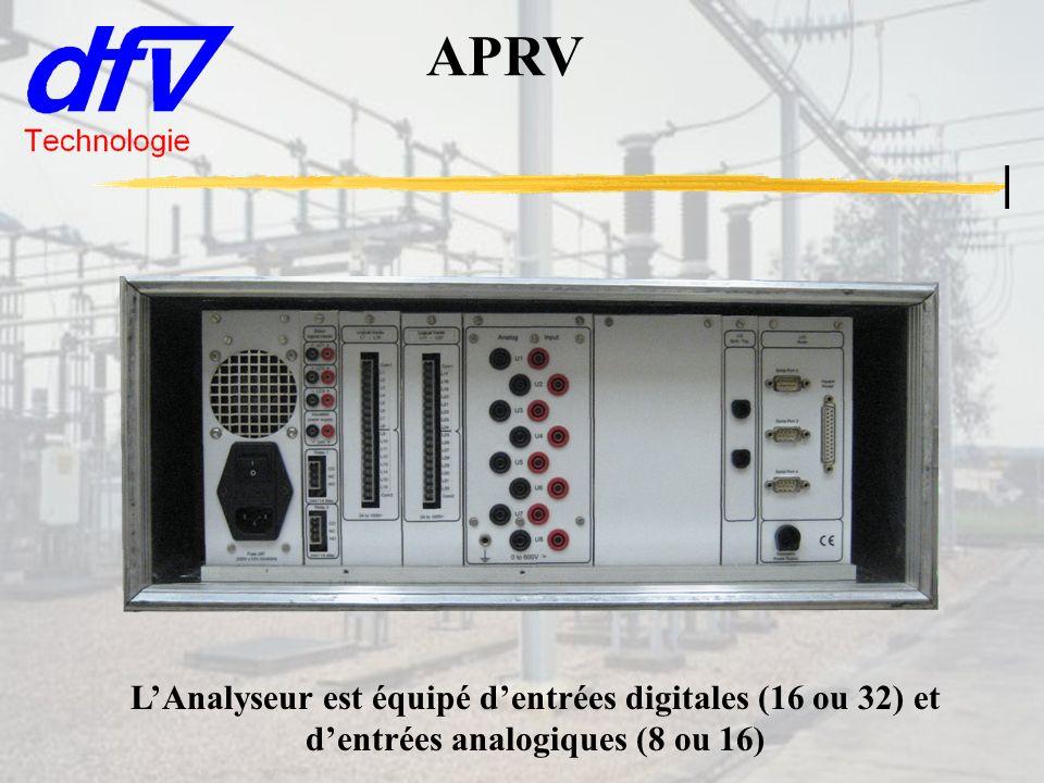 APRV L'Analyseur est équipé d'entrées digitales (16 ou 32) et d'entrées analogiques (8 ou 16)