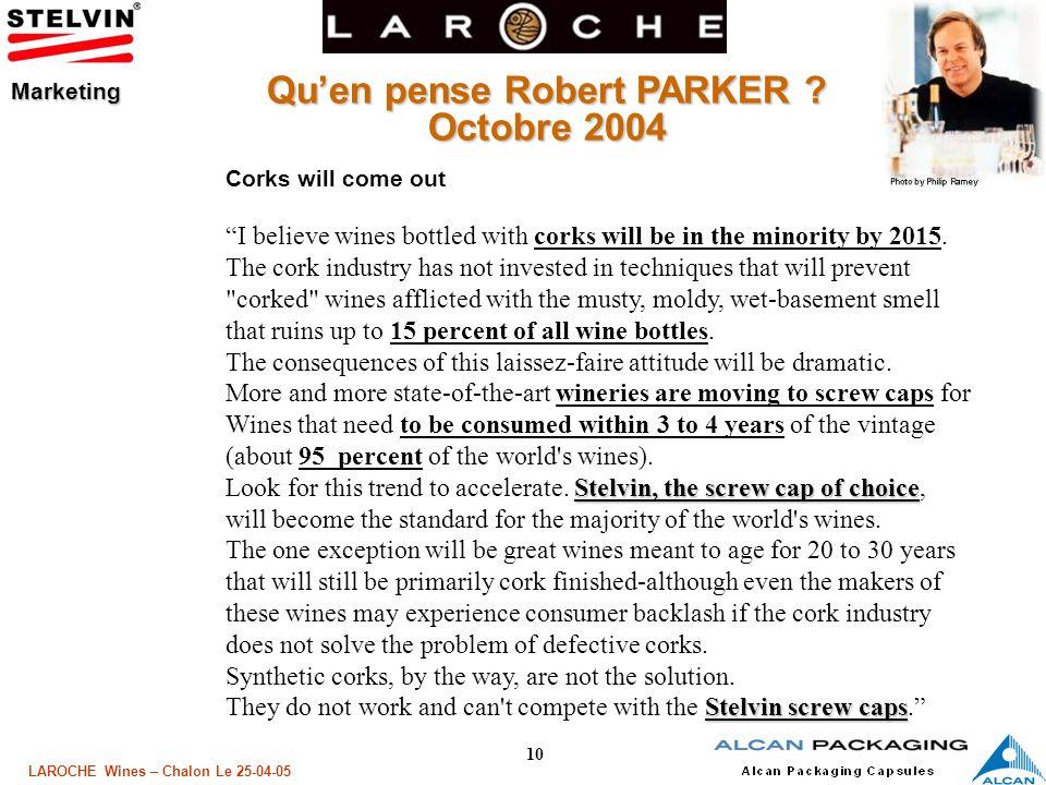 Qu'en pense Robert PARKER Octobre 2004