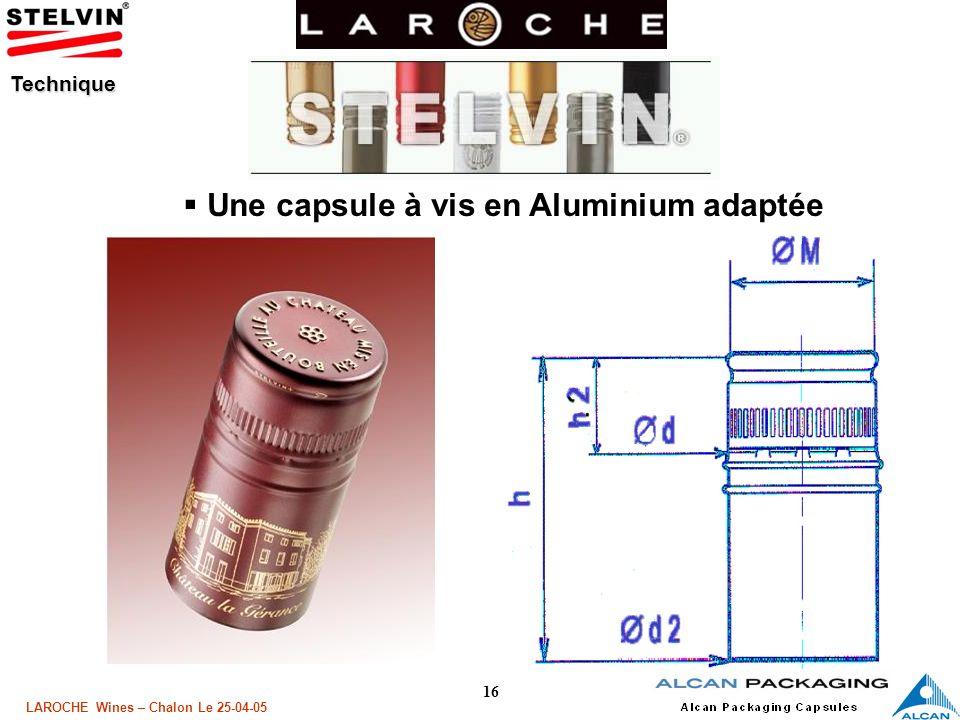 Une capsule à vis en Aluminium adaptée