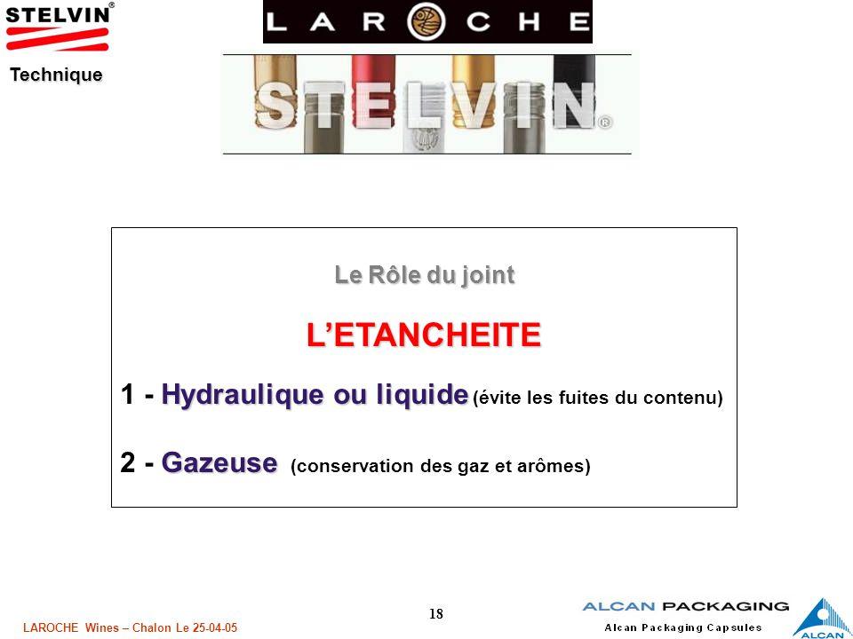 L'ETANCHEITE 1 - Hydraulique ou liquide (évite les fuites du contenu)
