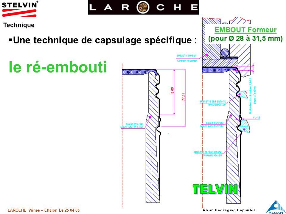 le ré-embouti Une technique de capsulage spécifique : EMBOUT Formeur