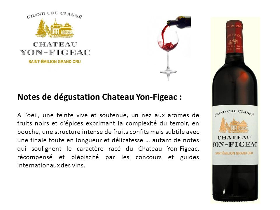Notes de dégustation Chateau Yon-Figeac :