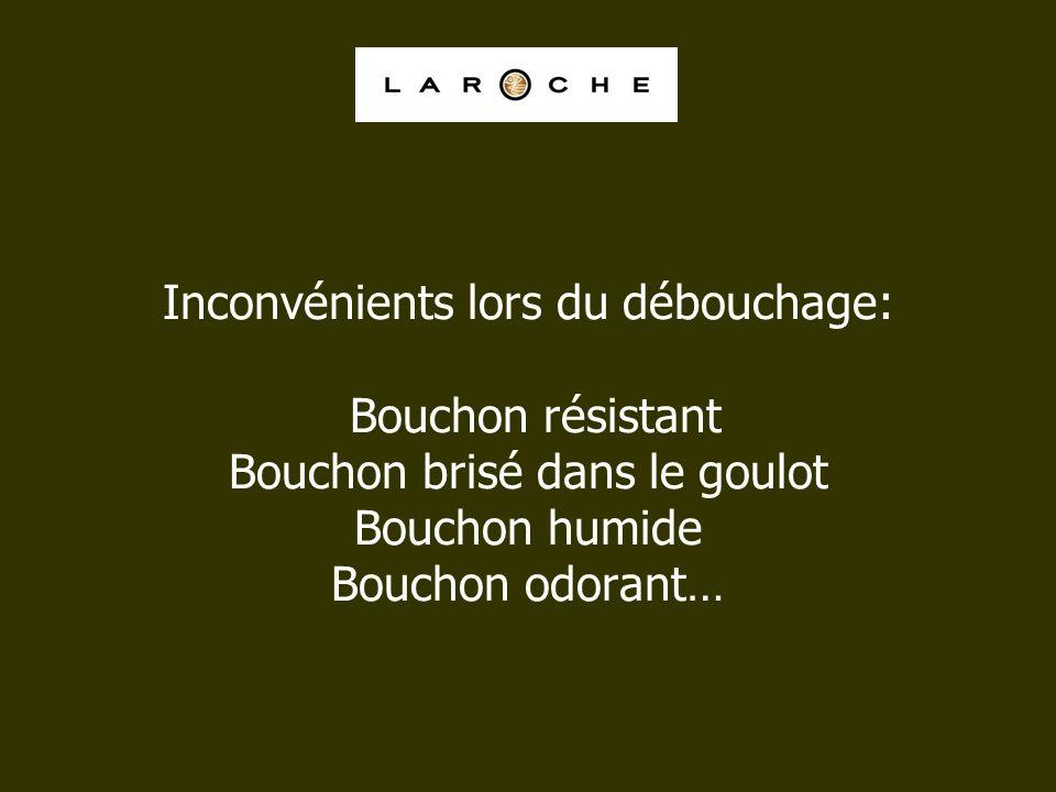 Inconvénients lors du débouchage: Bouchon résistant Bouchon brisé dans le goulot Bouchon humide Bouchon odorant…