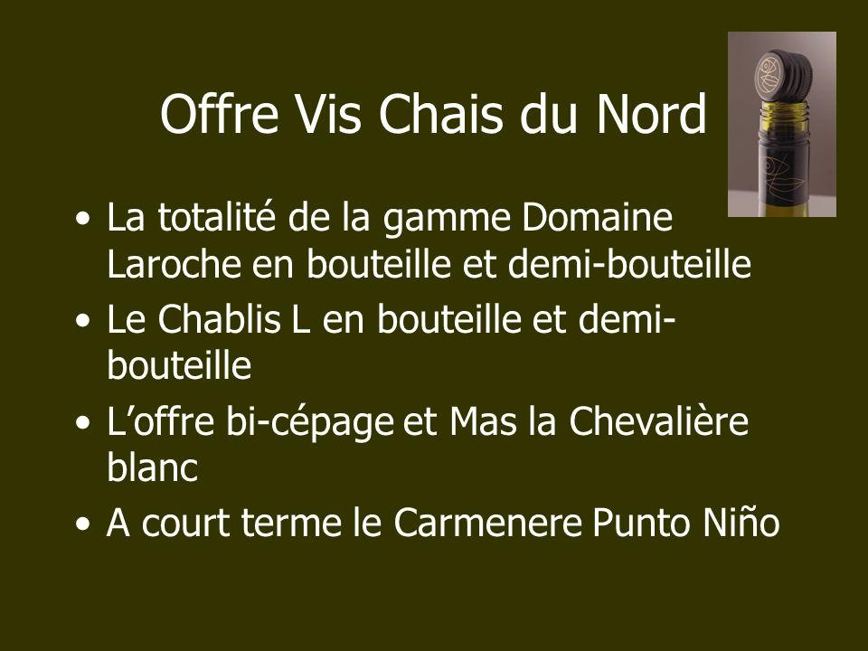 Offre Vis Chais du Nord La totalité de la gamme Domaine Laroche en bouteille et demi-bouteille. Le Chablis L en bouteille et demi-bouteille.