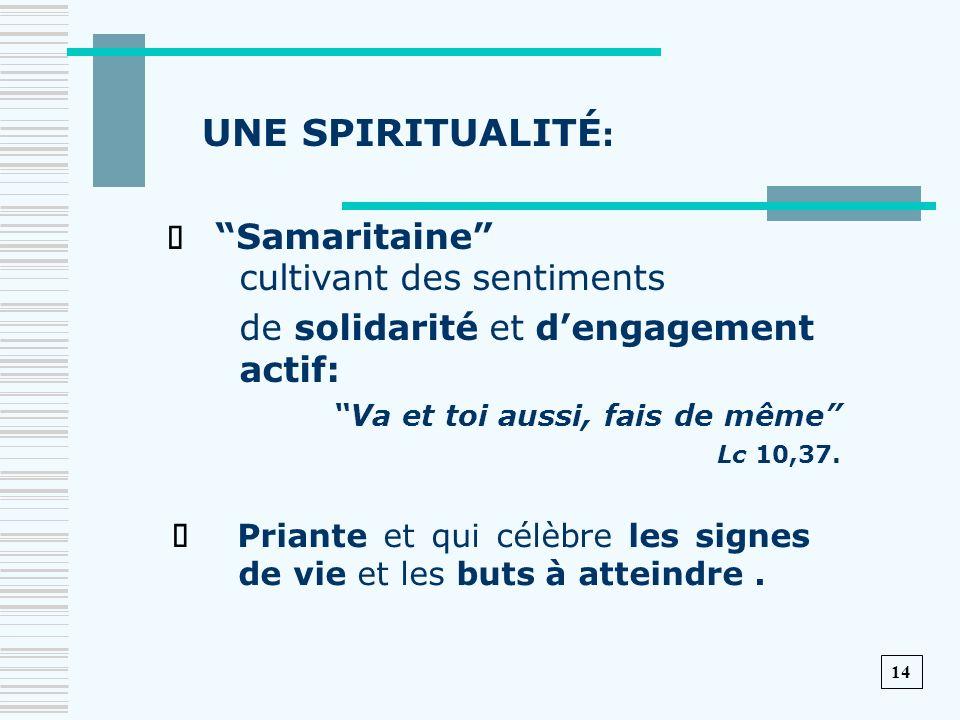 UNE SPIRITUALITÉ: de solidarité et d'engagement actif: